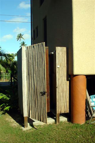 The outdoor bamboo hot shower