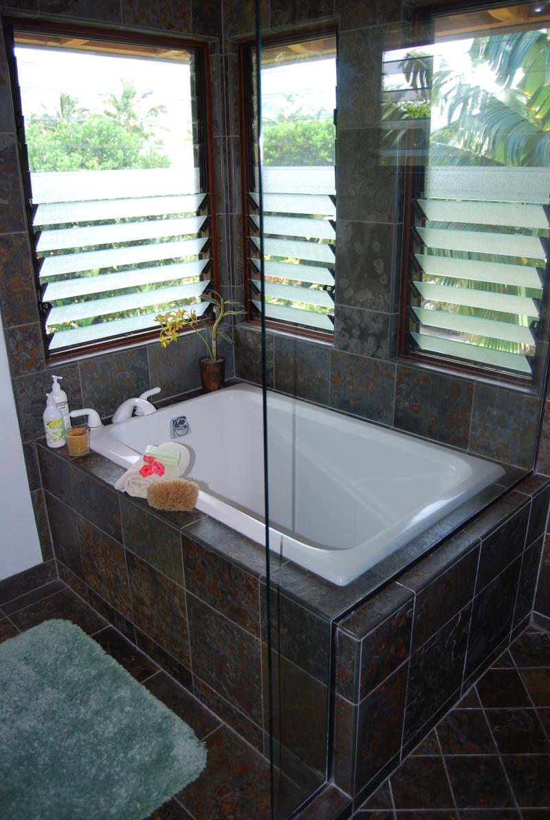 The deep soaking tub