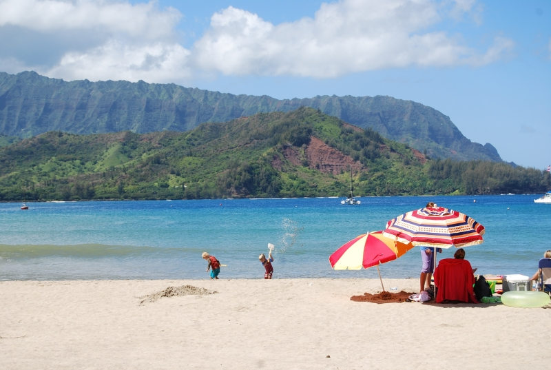 Hanalei Beach is ideal for young children