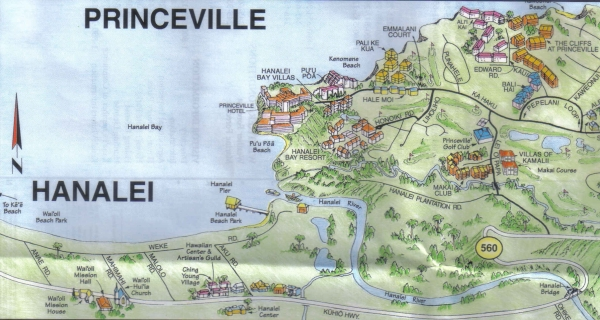 Detail of Hanalei Village and Princeville: www.hanaleibeachhouse.com/maps.html
